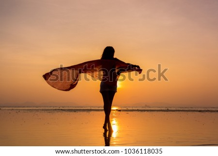 Beautiful Woman at the beach in Thailand #1036118035