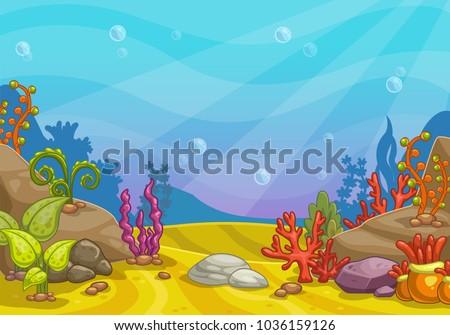 Cartoon underwater background. Ocean bottom nature. Vector illustration.