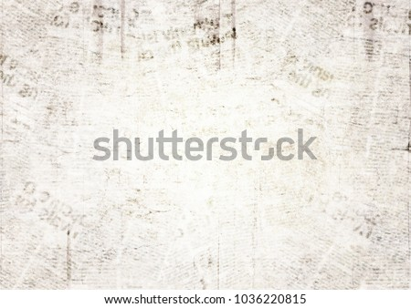 Vintage grunge newspaper paper texture background. Blurred old newspaper background. A blur unreadable aged newspaper page with place for text. Gray brown beige collage news pages background. #1036220815