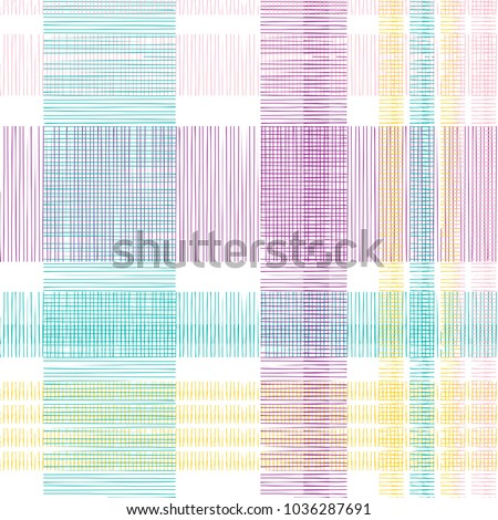 Seamless tartan plaid pattern. Checkered fabric texture print stripes punchy pastel colorful background. #1036287691