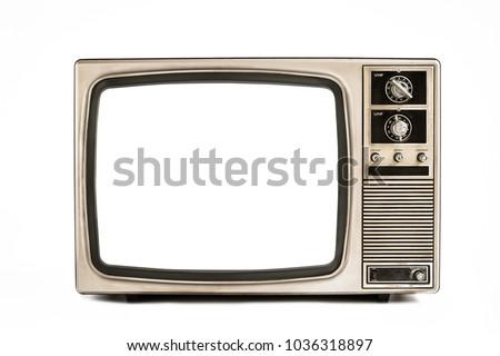 Old television isolated on white background,retro vintage tv style #1036318897