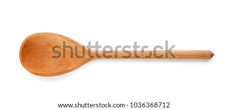 Wooden spoon on white background. Handcrafted cooking utensils #1036368712