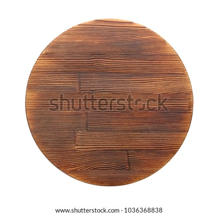 Wooden board on white background. Handcrafted cooking utensils #1036368838