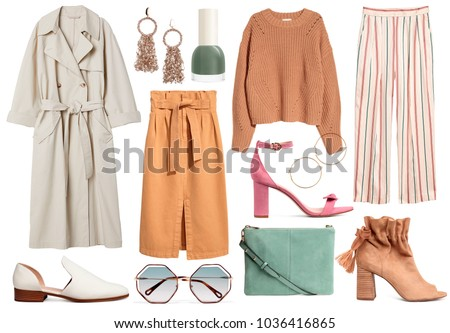 A set of fashionable clothes and accessories on a white background #1036416865