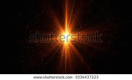 Abstract technology with intersections and particles. Network of lines with sphere shape and lens flare effect. 3D rendering #1036437223