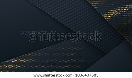 Abstract 3d background with black paper layers. Vector geometric illustration of carbon sliced shapes textured with golden glittering dots. Graphic design element. Elegant decoration Royalty-Free Stock Photo #1036437583