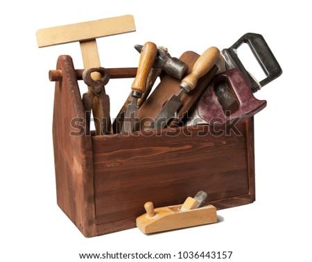 Old Carpenter Wooden toolbox with tools isolated on white. #1036443157