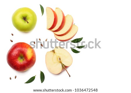 green and red apples with slices isolated on white background. top view #1036472548