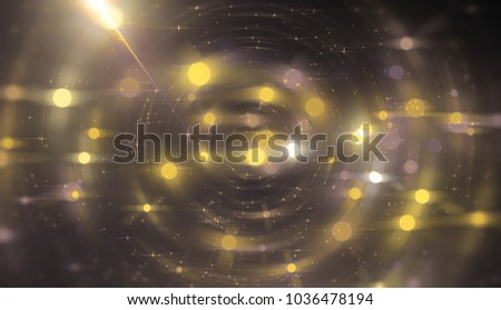 Abstract gold bokeh circles on a black background. Spectacular illustration with particles and rays. #1036478194