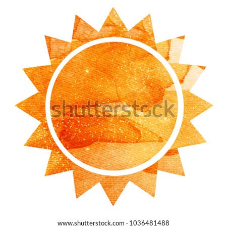Watercolor sun on white