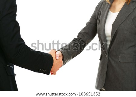 A business handshake, isolated on white background #103651352