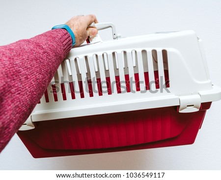 Man hand holding against white background animal pet cage used for cat and dog transportation in planes and buses #1036549117
