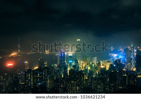 View on Hong Kong city skyline from the peak at night #1036621234