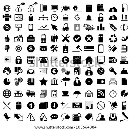 Vector illustration of various business, computer, internet, entertainment, office, transportation and shippping icons. Royalty-Free Stock Photo #103664384