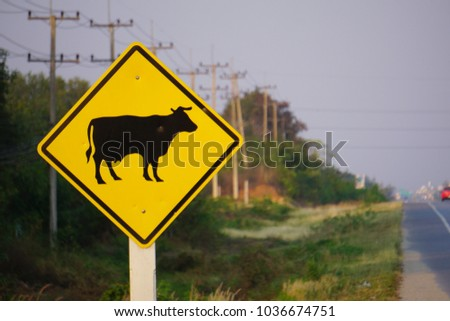 Cow warning traffic sign.