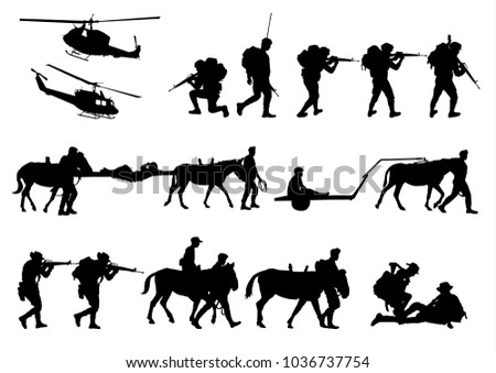Set of military silhouettes, military vector illustration, Army soldiers, Military silhouettes background. #1036737754
