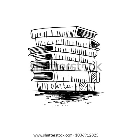 Stack of books sketch