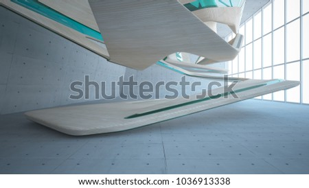 Empty dark abstract concrete and wood smooth interior. Architectural background. 3D illustration and rendering #1036913338