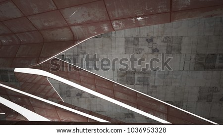 Empty smooth abstract room interior of sheets rusted metal and brown concrete. Architectural background. Night view of the illuminated. 3D illustration and rendering #1036953328