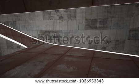 Empty smooth abstract room interior of sheets rusted metal and brown concrete. Architectural background. Night view of the illuminated. 3D illustration and rendering #1036953343