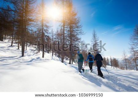Walk in the fresh snow with the snowshoes of three girl friends. #1036999150