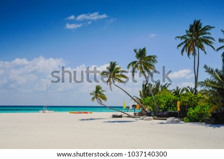 Beautiful beach in the ocean with white sand and a restaurant un #1037140300