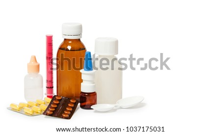 Bottles with medicine, nasal spray. Cough syrup, antipyretic syrup and nose drops on white background. Medication for cold treatment, copy space, template. #1037175031