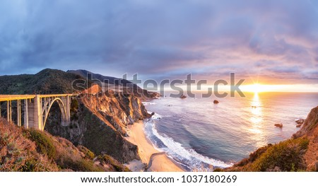 Bixby Creek Bridge on Highway 1 at the US West Coast traveling south to Los Angeles, Big Sur Area, California Royalty-Free Stock Photo #1037180269