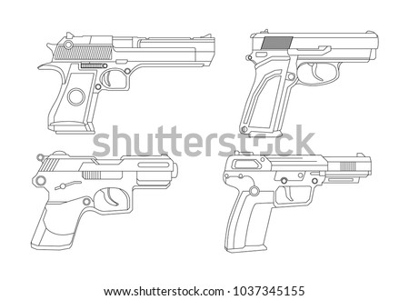 Firearms, Shooting gun, Weapon illustration, Vector Line, Gun illustration, Modern Gun, Military concept, Pistol set