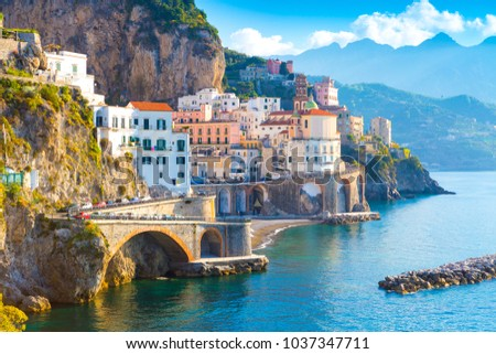 Morning view of Amalfi cityscape on coast line of mediterranean sea, Italy #1037347711