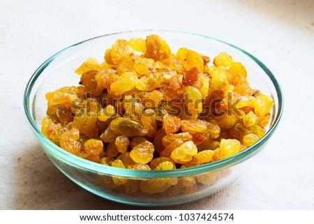 Golden raisins. Closeup #1037424574