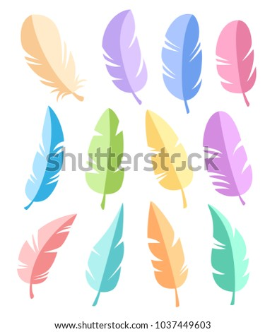 Feathers of different shapes vector set. Icons feathers in a flat style. Isolated on a white background. Collection of silhouettes of colorful feathers.