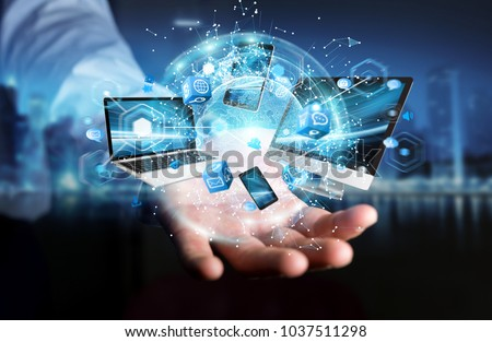 Tech devices connected to each other by businessman on blurred background 3D rendering #1037511298