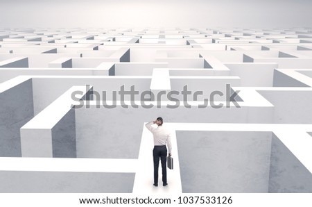 Small businessman in a middle of a huge maze #1037533126