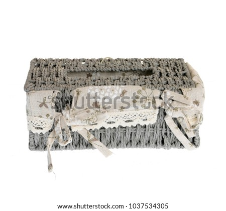 woven wicker basket with lining and lace, isolated on white background #1037534305