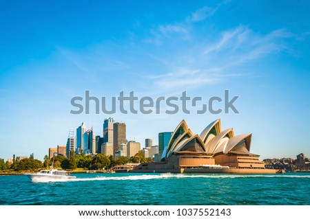 The city skyline of Sydney, Australia. Circular Quay and Opera House. touristic points, travel photo, sunny day Royalty-Free Stock Photo #1037552143