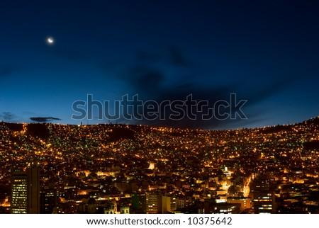 Panorama of night La Paz, Bolivia #10375642