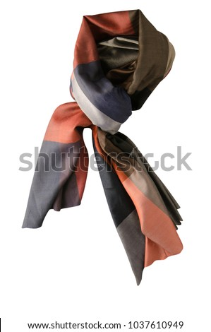 scarf summer. multicolored scarf. Scarf top view. #1037610949