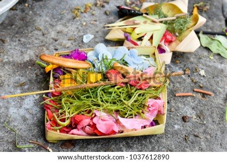 Traditional Offering to God in Bali Indonesia #1037612890
