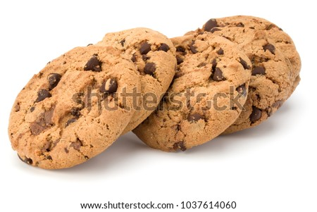 Chocolate chip cookies isolated on white background. Sweet biscuits. Homemade pastry. #1037614060