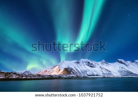 Aurora borealis on the Lofoten islands, Norway. Green northern lights above mountains. Night sky with polar lights. Night winter landscape with aurora and reflection on the water surface. Natural back #1037921752