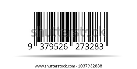 Barcode. Barcode template - stock vector illustration isolated on white background with shadow
