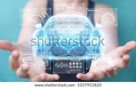 Businesswoman on blurred background modern smart car interface 3D rendering #1037955820