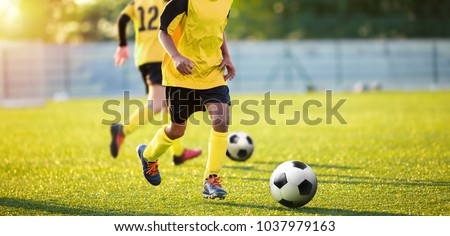 Football Training on the Pitch. Boys on Soccer Training Session. Kids Footballers Running the Ball. Soccer Grass Pitch on a Sunny Day. Football Stadium Background  #1037979163