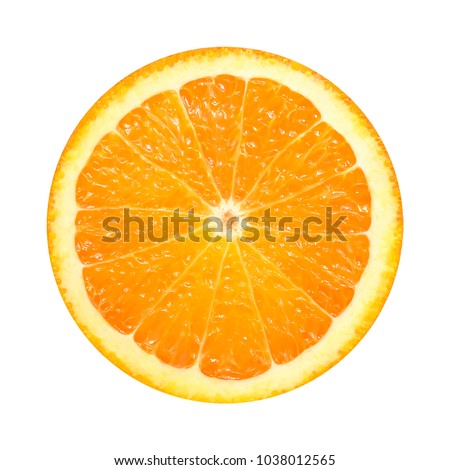 Orange slice isolated on white background. fresh fruit #1038012565