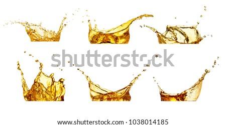 juice or water splashes set isolated on white #1038014185