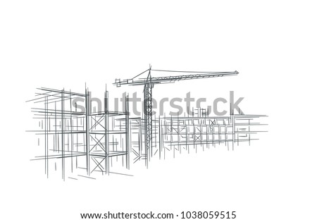 Construction site line sketch, hand drawn, vector. Royalty-Free Stock Photo #1038059515