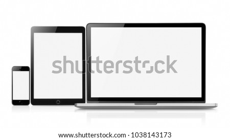Laptop smartphone and tablet mockup with blank screen isolated on white background, Concept mockup. Copyspace for text. #1038143173