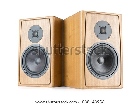 Two wooden speakers isolated on white background. File contains a path to isolation. #1038143956