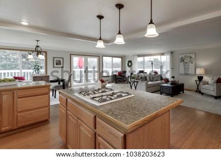 Puyallup, WA / USA - Feb. 28, 2018: Modern kitchen and living room interior #1038203623